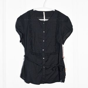 Polo Jeans Ralph Lauren Black Pintucked-Bib Blouse